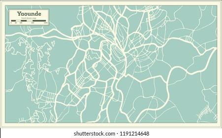 Yaounde Cameroon City Map in Retro Style. Outline Map. Vector Illustration.