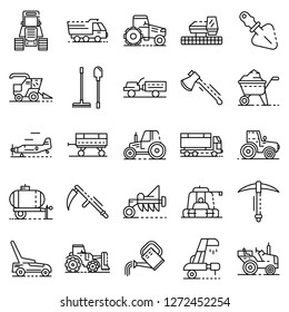 Yard equipment icon set. Outline set of yard equipment icons vector for web design isolated on white background