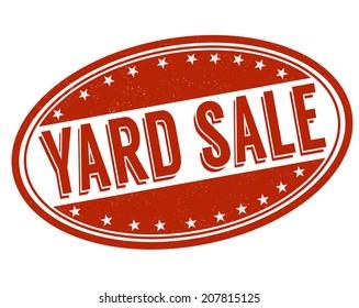 Yard sale grunge rubber stamp on white, vector illustration