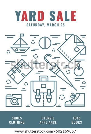 yard sale sign template poster banner のベクター画像素材
