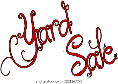 Yard sale text sign illustration on white background