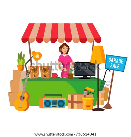 Yard Sale Vector Household Items Sale Stock Vektorgrafik Lizenzfrei