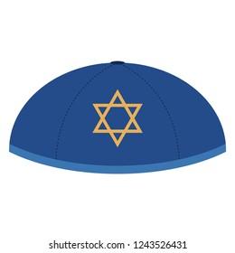 Yarmulke - Blue yarmulke or skullcap with gold Star of David design for Hanukkah