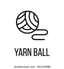 Yarn ball icon or logo in modern line style. High quality black outline pictogram for web site design and mobile apps. Vector illustration on a white background.