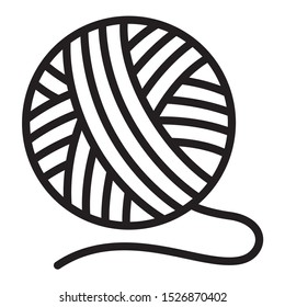 Yarn ball for knitting with loose thread line art vector icon for crafting apps and websites