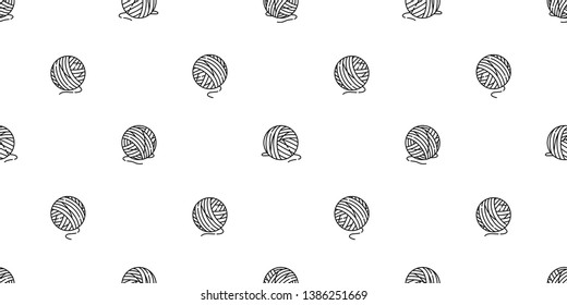 yarn ball seamless pattern vector balls of yarn knitting needles cat toy repeat isolated wallpaper tile background cartoon illustration doodle