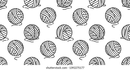 yarn ball seamless pattern vector balls of yarn knitting needles cat toy repeat isolated wallpaper tile background cartoon illustration