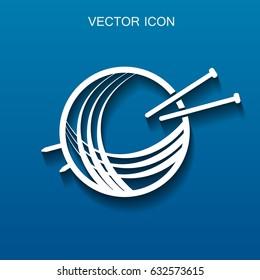 Yarn and knitting needles icon vector illustration