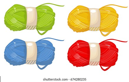 Yarn, thread, knitting, weaving, wool, vector cartoon illustration