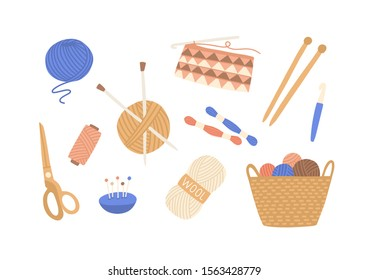 Yarn and threads colorful flat vector illustrations set. Skein of wool, knitting needles, yarn basket, weaving wool, scissors pack. Needlework, tools for sewing and knitting collection.