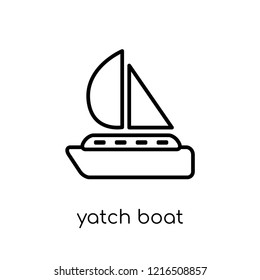 yatch boat icon. Trendy modern flat linear vector yatch boat icon on white background from thin line Summer collection, outline vector illustration