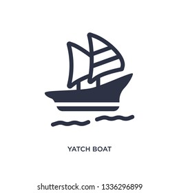 yatch boat isolated icon. Simple element illustration from summer concept. yatch boat editable logo symbol design on white background. Can be use for web and mobile.