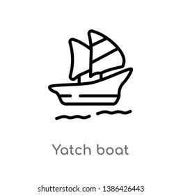 yatch boat vector line icon. Simple element illustration. yatch boat outline icon from summer concept. Can be used for web and mobile