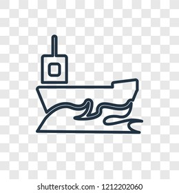 Yatch concept vector linear icon isolated on transparent background, Yatch concept transparency concept in outline style