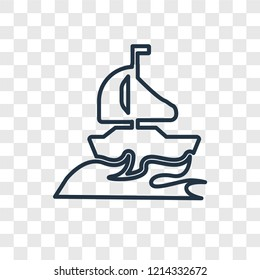 Yatch concept vector linear icon isolated on transparent background