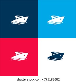 Yatch four color material and minimal icon logo set in red and blue