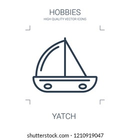 yatch icon. high quality line yatch icon on white background. from hobbies collection flat trendy vector yatch symbol. use for web and mobile