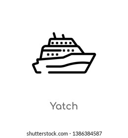 yatch vector line icon. Simple element illustration. yatch outline icon from nautical concept. Can be used for web and mobile