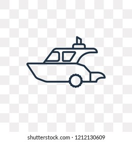 Yatch vector outline icon isolated on transparent background, high quality linear Yatch transparency concept can be used web and mobile