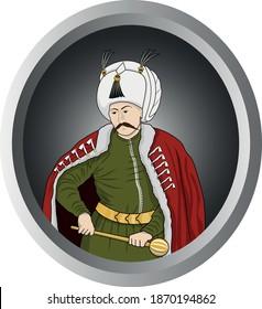 Yavuz Sultan Selim (Sultan Selim I the Grim) vector illustration in cartoon style. Sultan Selim I was the first Ottoman Caliph of Islam.