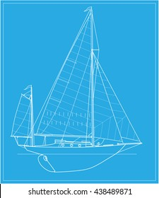 Yawl sailing classic boat. Vector image of two-masted sailing yacht