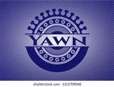 Yawn emblem with jean background