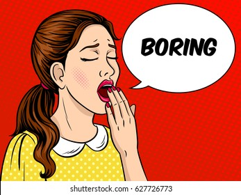 Yawning bored girl pop art retro vector illustration. Comic book style imitation.