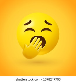 Yawning face emoji - emoticon with eyes closed and mouth wide open covered by a hand - may represent having insufficient sleep, or imply boredom with a person or topic