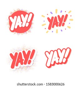 Yay! Vector lettering icons set.