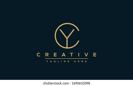 YC Logo Design Template Vector monogram. Modern letters YC or CY.