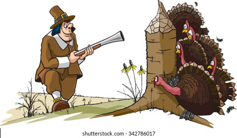 Ye Old Turkey Hunt A cartoon of a Pilgrim hunting Turkeys. Layered vector file available.