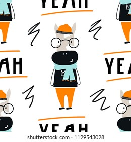 Yeah - Cute hand drawn nursery seamless pattern with cool cow animal with glasses and hand drawn lettering. Vector illustration in scandinavian style.