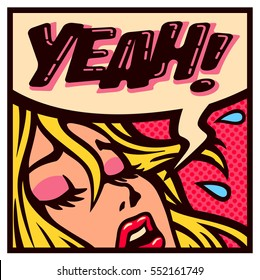 Yeah! Vintage pop art style woman screaming for pleasure comic book panel vector illustration