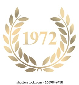 Year 1972 gold laurel wreath vector isolated on a white background