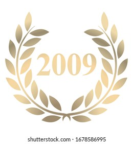 Year 2009 gold laurel wreath vector isolated on a white background