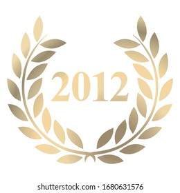 Year 2012 gold laurel wreath vector isolated on a white background