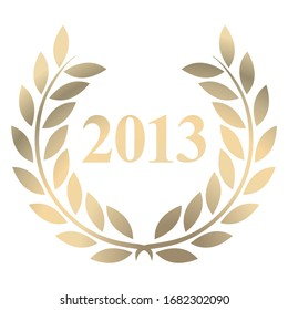 Year 2013 gold laurel wreath vector isolated on a white background