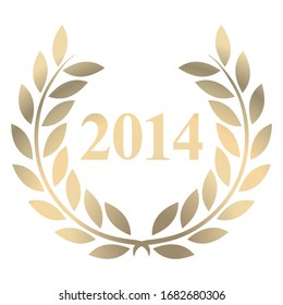 Year 2014 gold laurel wreath vector isolated on a white background
