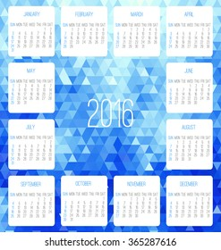 Year 2016 vector monthly calendar. Week starting from Sunday. Contemporary low poly design in blue color.