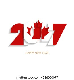 year 2017 with canada flag pattern happy new year design on white background vector