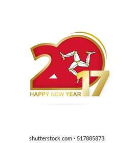 Year 2017 with Isle of Man Flag pattern. Happy New Year Design on white background. Vector Illustration.