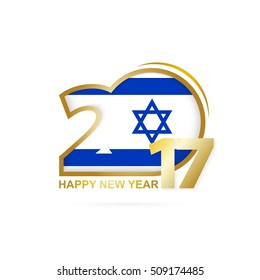 Year 2017 with Israel Flag pattern. Happy New Year Design on white background. Vector Illustration.
