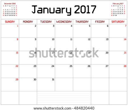 year 2017 january planner monthly planner stock vector royalty free