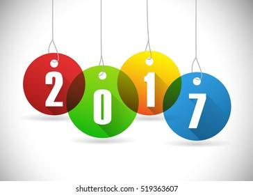 Year 2017 on hanging circles