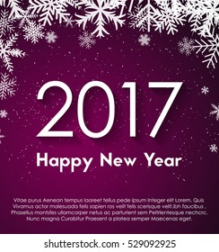 Year 2017 on violet background with snowflakes