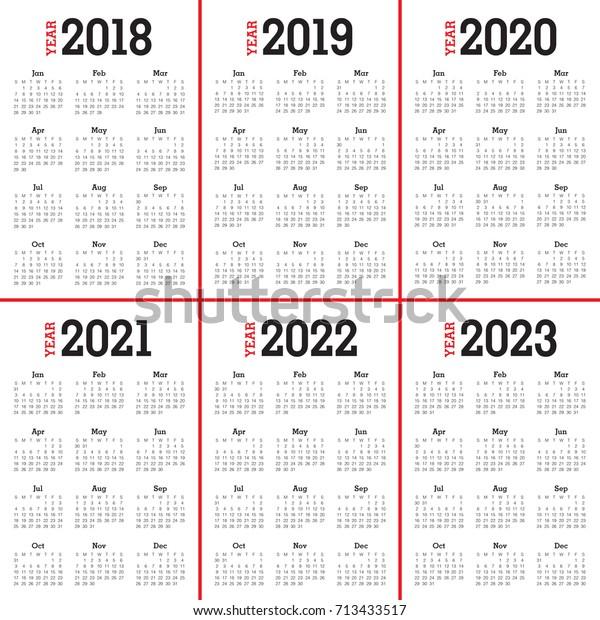 Calendario Premier 2021 2022 Year 2018 2019 2020 2021 2022 Stock Vector (Royalty Free) 713433517