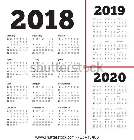 year 2018 2019 2020 calendar vector design template simple and clean design