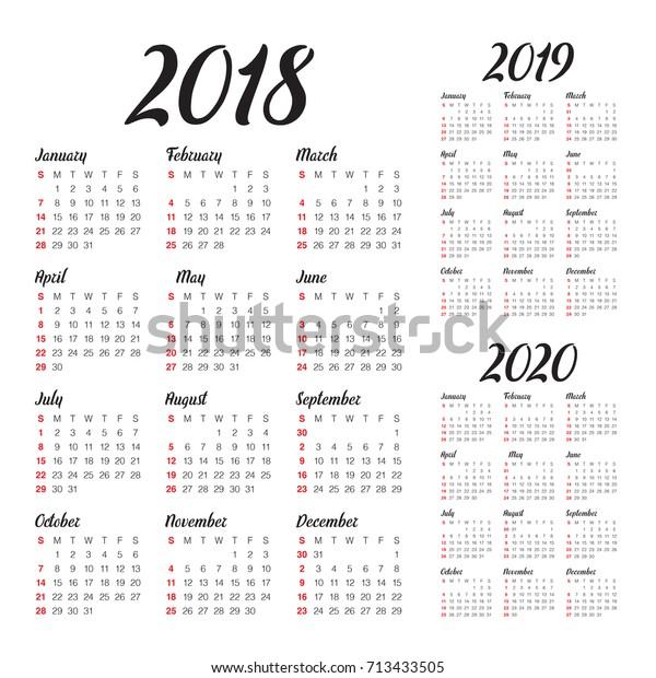 Year 2018 2019 2020 Calendar Vector Stock Vector (Royalty