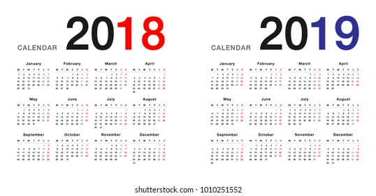 year 2018 and year 2019 calendar vector design template simple and clean design calendar