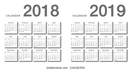Year 2018 and Year 2019 calendar vector design template, simple and clean design. Calendar for 2018 and 2019 on White Background for organization and business. Week Starts Monday.  Vector Template